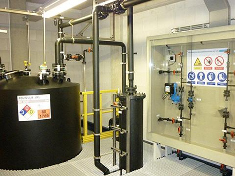 10 % HCL opslagtank en gaswasser GVK roosters en railing